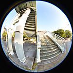 陸橋への階段、円周魚眼写真 Sigma 4.5mm f2.8 circular fisheye